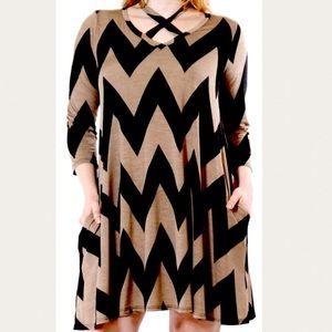 Plus Size Chevron Print Tunic Top Dress 2X 2XL